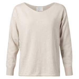 YAYA Cotton blend boat neck sweater pebble