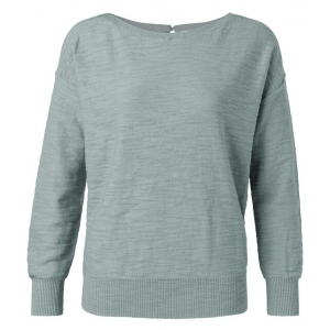 YAYA Boatneck sweater with rib stitch detail concrete blue