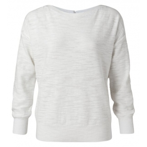 YAYA Boatneck sweater with rib stitch detail wool white