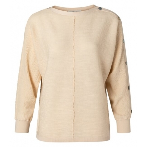 YAYA Textured sweater with buttons pale peach