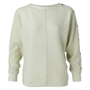 YAYA Textured sweater with buttons pale green