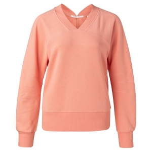 YAYA Sweater with rib v-neck dahlia