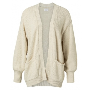 YAYA Slub yarn cardigan bone white