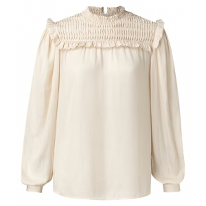 YAYA Smocked drapy blouse with delicate ruffles
