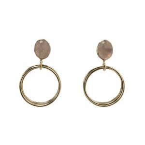 YAYA Earrings with rings and stone gold