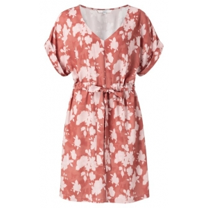 YAYA Woven belted dress with floral print rouge