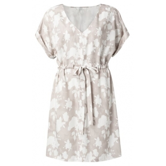 YAYA Woven belted dress with floral print pebble