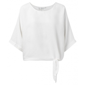 YAYA Oversized top with kimono sleeves and knotted detail blanc
