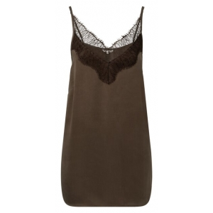 YAYA Strappy top with lace turkish coffee