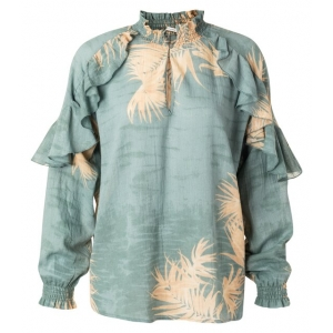 YAYA Printed top with ruffles concrete blue dessin