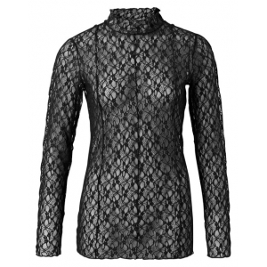 YAYA lace high neck top zwart