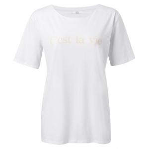 YAYA Cotton t-shirt with quote white