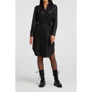 YAYA PU belted shirt dress black