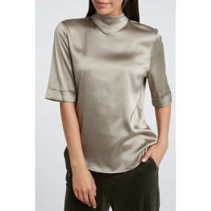 YAYA Shiny satin high neck top with short sleeves