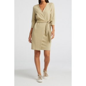 YAYA Jersey fake wrap dress soft sage