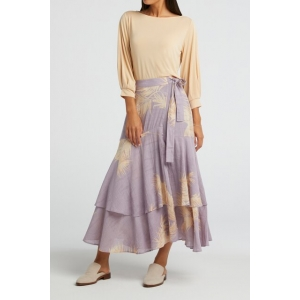 YAYA Printed midi skirt with faux wrap effect lila dessin