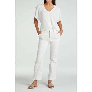 YAYA Cotton blend kick-flare chino 7/8 length blanc