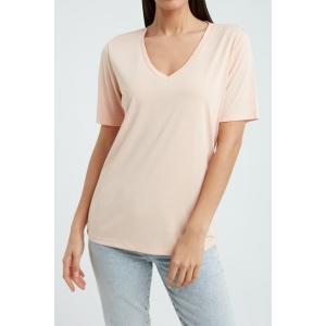 YAYA Modal v-neck t-shirt almost apricot