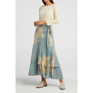 YAYA Printed midi skirt with faux wrap effect concrete blue dessin