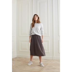 YAYA Jersey midi skirt with pleats dark grey