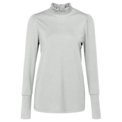 YAYA Jersey top with smocked collar wool white
