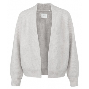 YAYA Short cosy open cardigan with long sleeves wool white melange