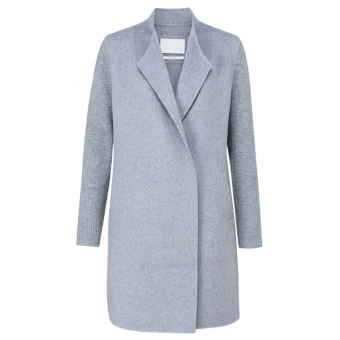 YAYA Coatigan in a soft wool mix with knitted sleeves light grey