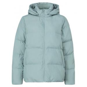 YAYA Short puffer jacket with detachable hood greyish green milieu