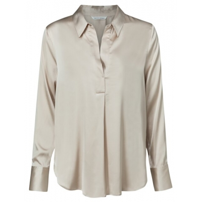 YAYA Satin pull on long sleeve top in viscose cement