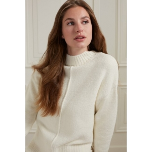 YAYA Sweater with vertical seam at front body dark wool white