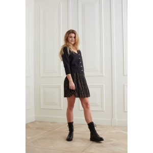 YAYA Printed mini skirt with plisse effect black dessin