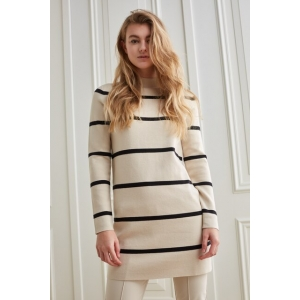 YAYA Knitted dress with stripes, high neckline and long sleeves french oak dessin