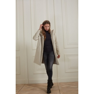 YAYA Raincoat with embossed effect and fur hood french oak