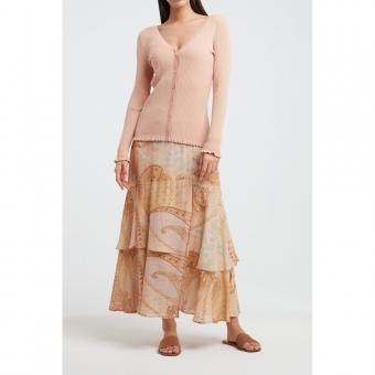 YAYA Printed midi skirt with faux wrap effect rose